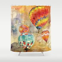 balloons Shower Curtains featuring Balloons by takmaj