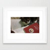 caleb troy Framed Art Prints featuring Caleb the cat by RubyEsmeralda