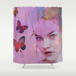 Isabelle and butterflies fork Shower Curtain