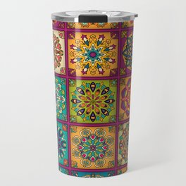 Vintage patchwork with floral mandala elements Travel Mug