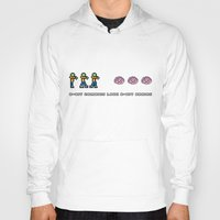 8 bit Hoodies featuring 8-BIT ZOMBES LOVE 8-BIT BRAINS by Lewys Williams