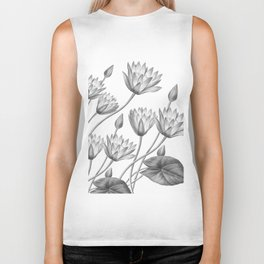 Water Lily Black And White Biker Tank