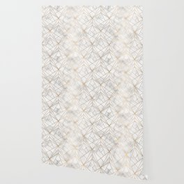 Geometric Gold Pattern on Marble Texture Wallpaper