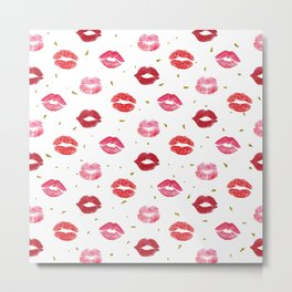 Red Lip Pattern Metal Print