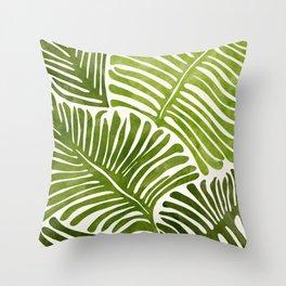 Summer Fern / Simple Modern Watercolor Throw Pillow