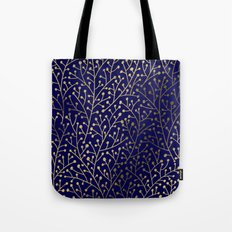 Gold Berry Branches on Navy Tote Bag