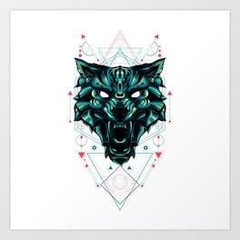 The green wolf sacred geometry Art Print