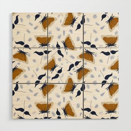 Gold and White Flowers with Blue Wood Wall Art
