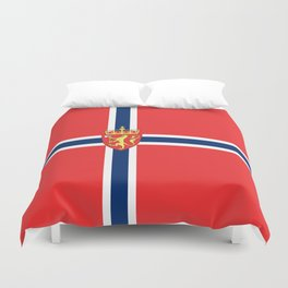 Flag of Norway Scandinavian Cross and Coat of Arms Duvet Cover
