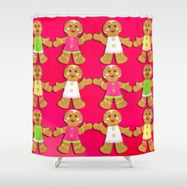 Gingerbread Men and Gingerbread Woman Cookies Shower Curtain
