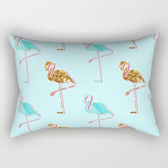 Golden Blue Flamingo Pattern Rectangular Pillow