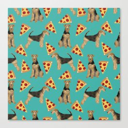 Airedale Terrier pizza pattern dog breed cute custom dog pattern gifts for dog lovers Canvas Print