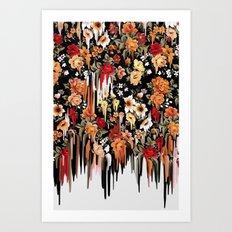 Free Falling, melting floral pattern Art Print