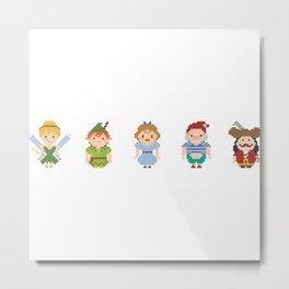 Peter Pan All Pixel Characters Metal Print