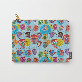 colorful owls on a blue background Carry-All Pouch