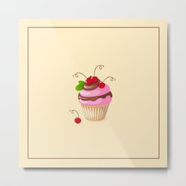 cupcake with cherry  and mint Metal Print