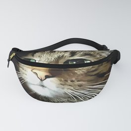 Tabby Cat With Green Eyes Isolated On Black Fanny Pack