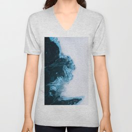 Abstract Aerial Lake in Iceland – Minimalist Landscape Photography Unisex V-Neck
