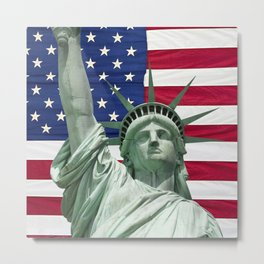 Statue of Liberty and American Flag Metal Print