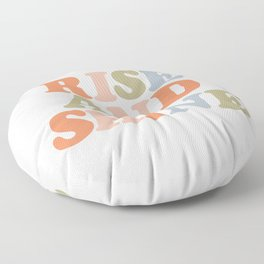 RISE AND SHINE orange pink peach green and blue Floor Pillow