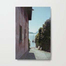 lake Como 35mm film photography  landscape boat Metal Print