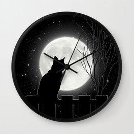 Silent Night Cat and full moon Wall Clock