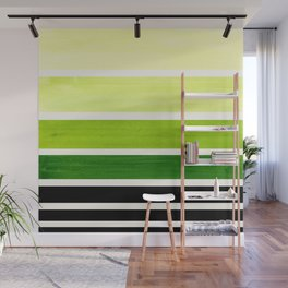 Sap Green Minimalist Mid Century Modern Color Fields Ombre Watercolor Staggered Squares Wall Mural