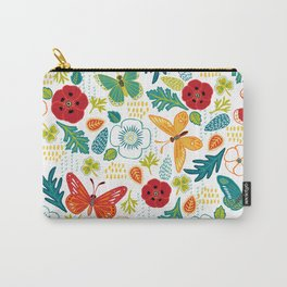 Butterly Garden on White Carry-All Pouch