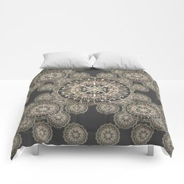 Pewter and Rose-Gold Patterned Mandalas Comforters