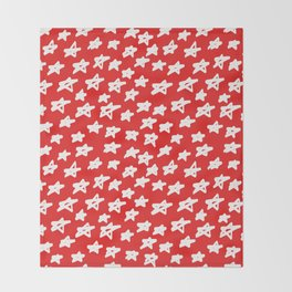 Stars on red background Throw Blanket
