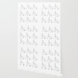Delivery Worker Pushing Hand Cart Walk Sequence Drawing Wallpaper