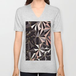 Stylish Art Deco Geometric Pattern - Black, Coral, Gold #abstract #pattern Unisex V-Neck