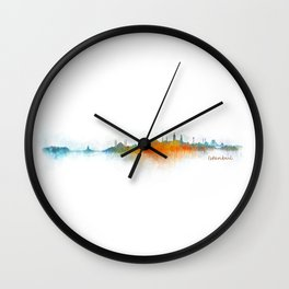 Istanbul City Skyline Hq v3 Wall Clock