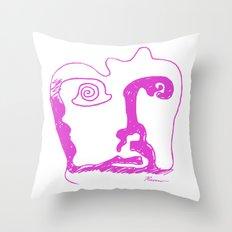 Swirl Face Line Art Throw Pillow