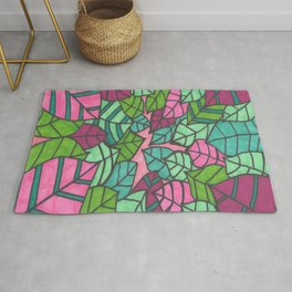 Pink and Green Palm Leaves Print Rug