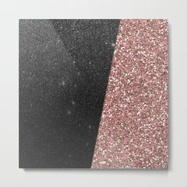 Abstract black rose gold geometrical glitter Metal Print