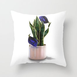 Blue Tang & Snake Plant Throw Pillow
