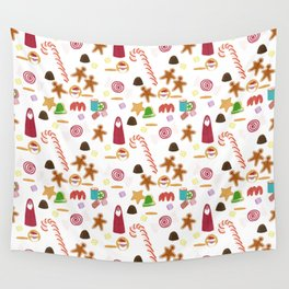 Christmas Sweeties Candies, Peppermints, Candy Canes and Chocolates Wall Tapestry