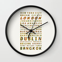 Travel World Cities Wall Clock