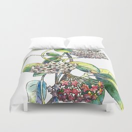 Light white-pink flower - HOYA Duvet Cover