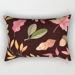 Pink orange yellow brown watercolor fall acorn leaves Rectangular Pillow