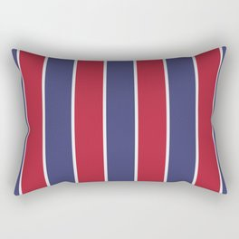 Large Red White and Blue USA Memorial Day Holiday Vertical Cabana Stripes Rectangular Pillow