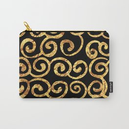 Gold Swirls on Black Background Carry-All Pouch