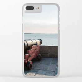 Old gun on the walls of Saint Malo Clear iPhone Case