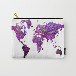 Purple World Map Carry-All Pouch