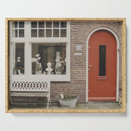 Red door, wall of bricks and orchids in the window | Magical Amsterdam | Netherlands Photography  Serving Tray