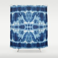 tie dye Shower Curtains featuring Tie Dye Blues Twos by Nina May Designs