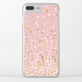 Floating Confetti - Pink Blush and Gold Clear iPhone Case