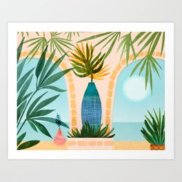 Welcome To The Hotel California / Illustrated Landscape Art Print