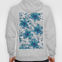 LILY AND VINES BLUE AND WHITE PATTERN Hoody
